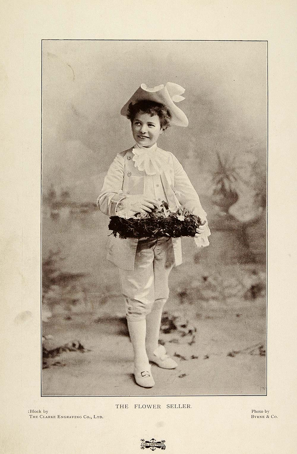 1901 Print Flower Seller Little Lord Fauntleroy Suit Original Histor Period Paper