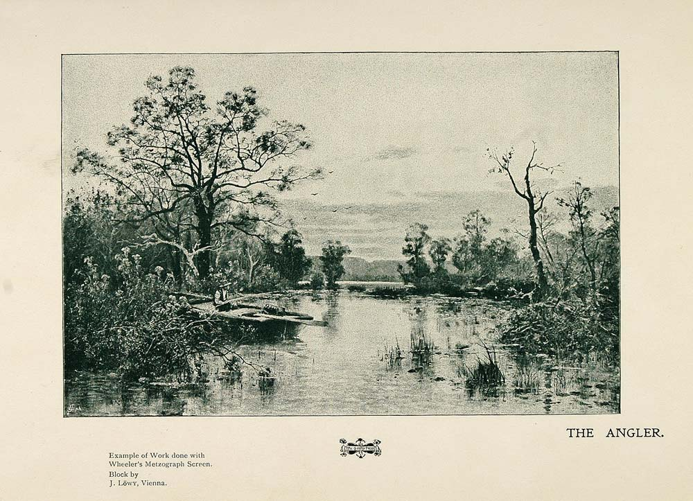 1901 Print Fisherman Boat Fishing Angler Lake Trees - ORIGINAL HISTORIC PNR4