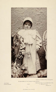 1897 Print Portrait Child Young Girl H. Roland White - ORIGINAL HISTORIC PNR5