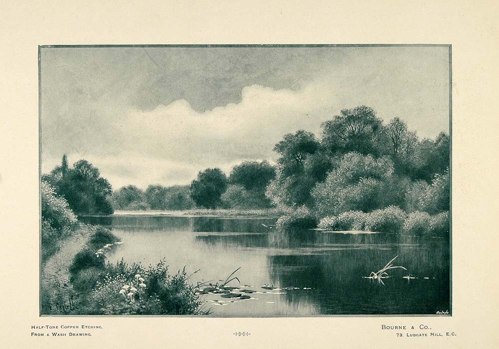 1897 Halftone Print Lake River Landscape Wash Drawing ORIGINAL HISTORIC PNR5