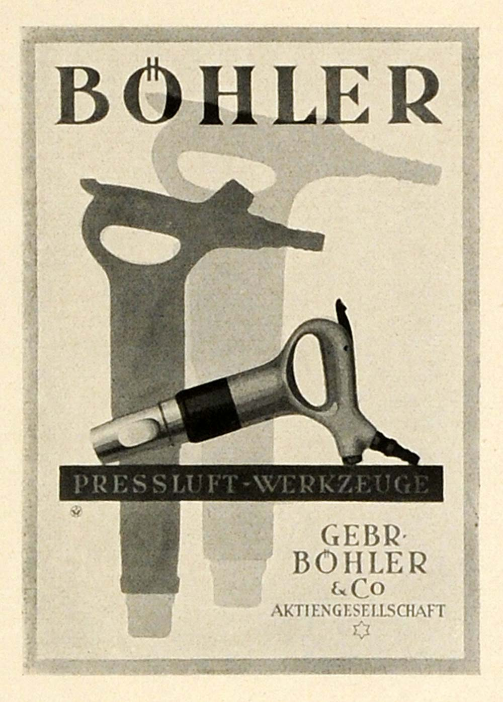 1931 Willrab Lithograph Ad Gebr. Bohler & Co Air Pressure Tools Graphic PO5