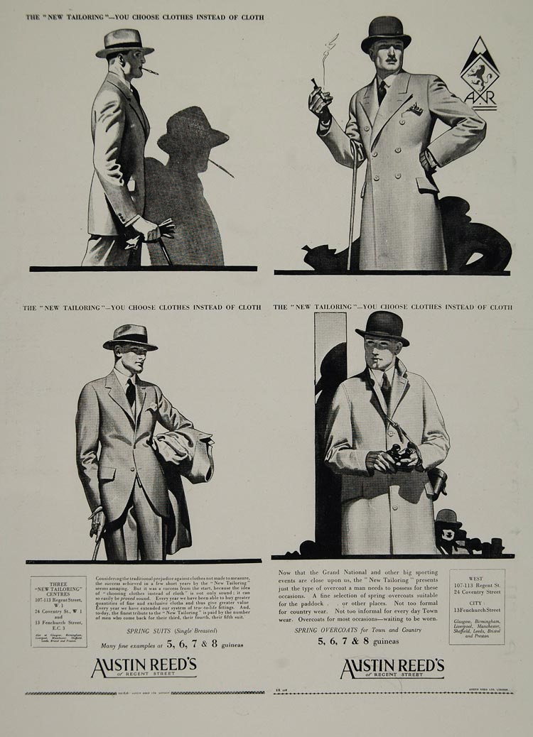 1928 Austin Reed S Regent St Men Clothes Tom Purvis Ad Original Histo Period Paper