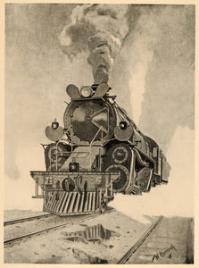 1926 Steam Train Locomotive Railroad W. Hermann Print ORIGINAL HISTORIC POS8A