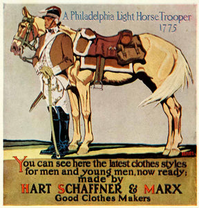 1924 Color Print Hart Schaffner Marx Edward Penfield Horse Trooper Calvary POS8B