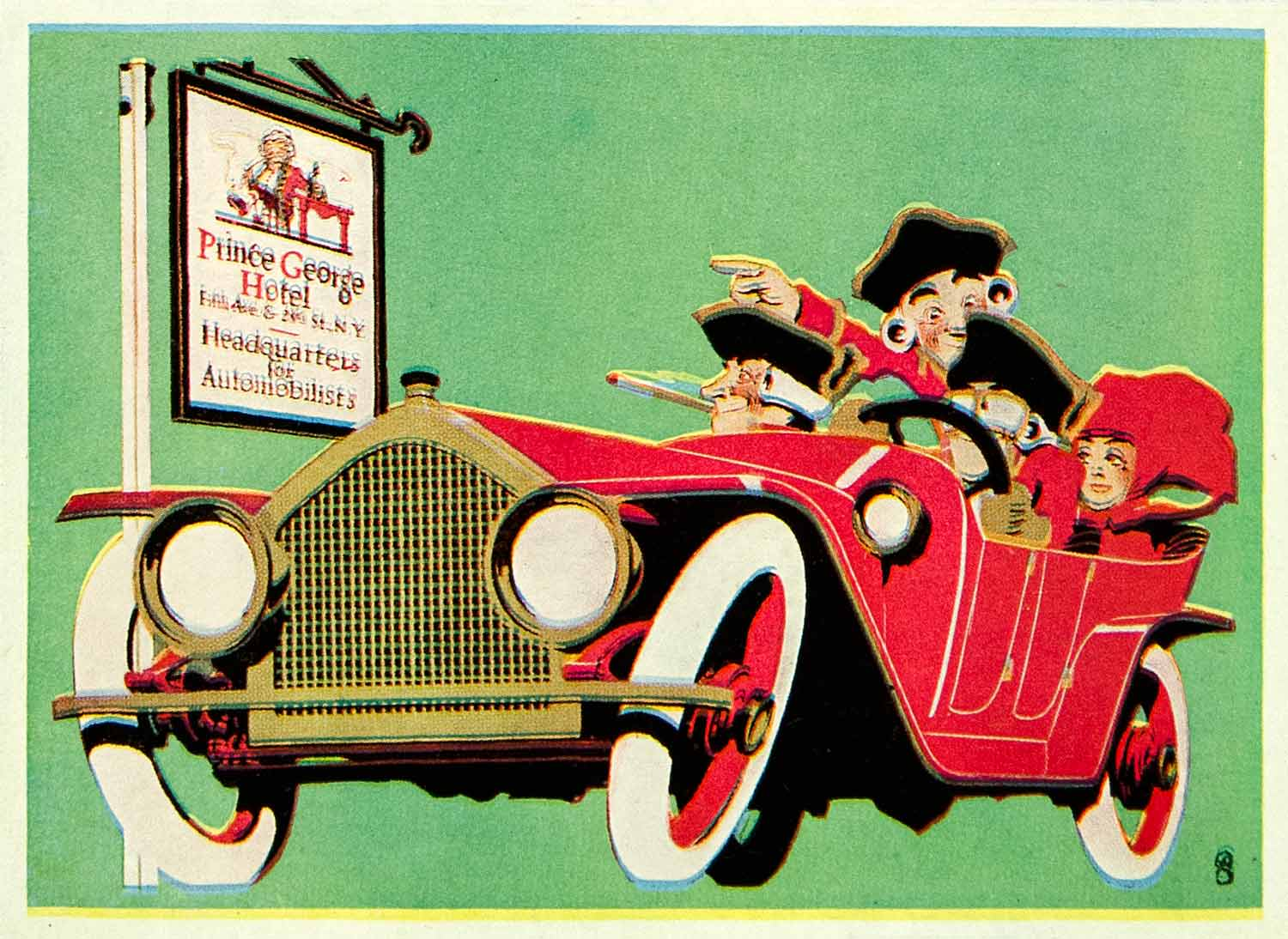 1924 Color Print Frederick G Cooper Prince George Hotel Automobile Car Art POS8B