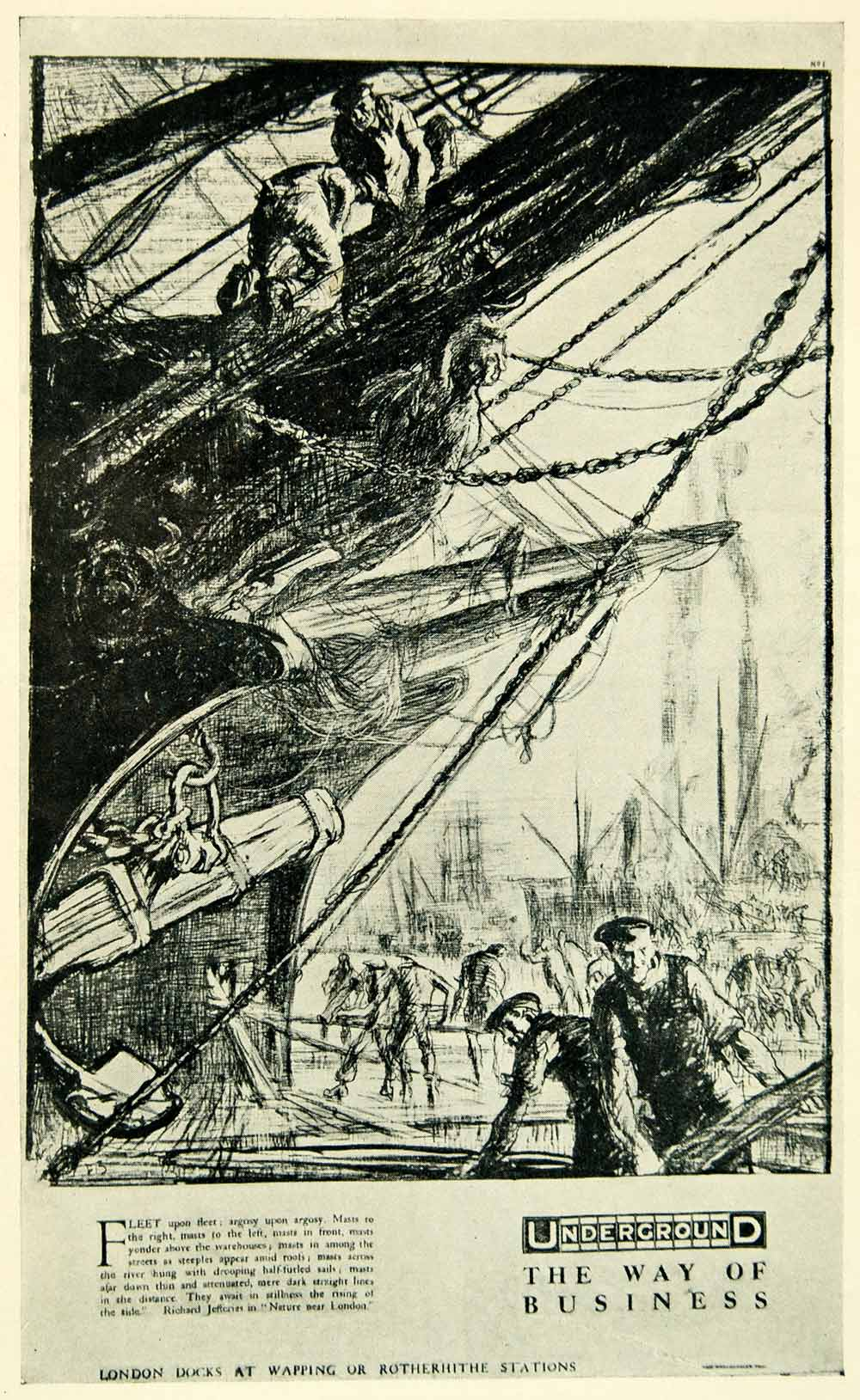 1924 Print London Underground Frank Brangwyn Docks Ship Wapping POS8B