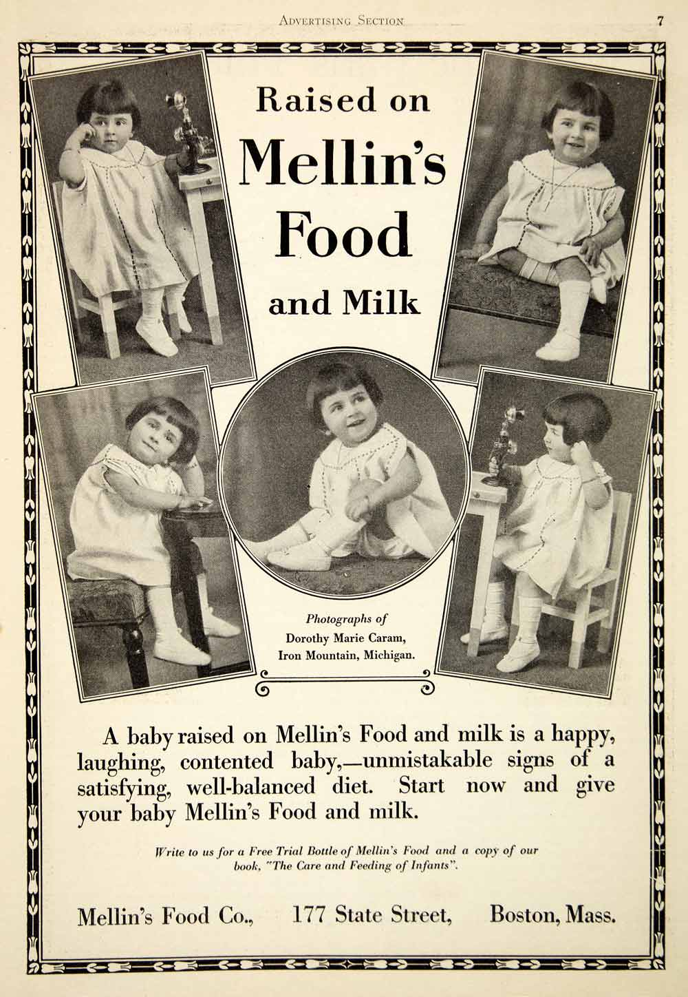 1925 Ad Mellin's Food Milk Baby Infant Dorothy Marie Caram 177 State Street PPM1