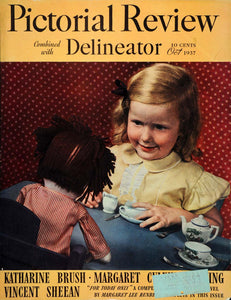 1937 Cover Pictorial Review Oct. Tea Party Child Doll Girl Playing Yellow PR2