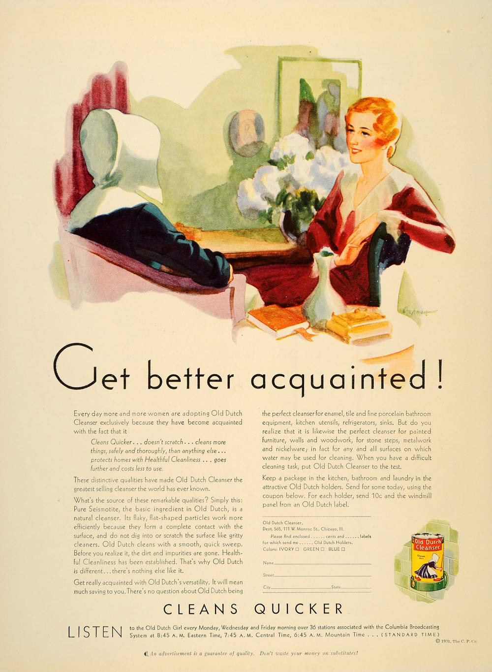 1931 Ad Old Dutch Cleanser Floor Enamel Tile Oshman Cleaning Products PR2