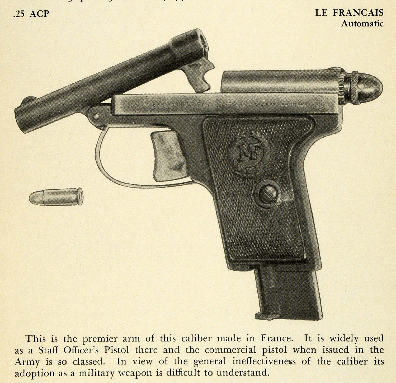 1948 Print .25 ACP Le Francais Automatic Staff Officer Army Military Pistol PR3