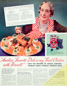 1937 Ad Royal Baking Powder Amelia Earhart Mother Fried Chicken Biscuits Recipe