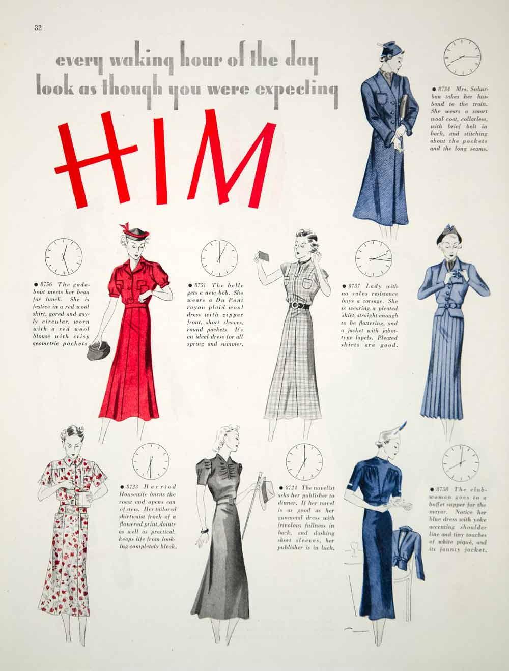 1937 Article Vintage 30's Fashion Women Housewife Dress Suit Career Girl Sexism
