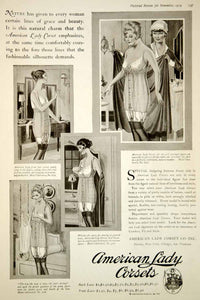 1919 Ad Vintage American Lady Corsets Girdle Fashion Lingerie Underwear Risque