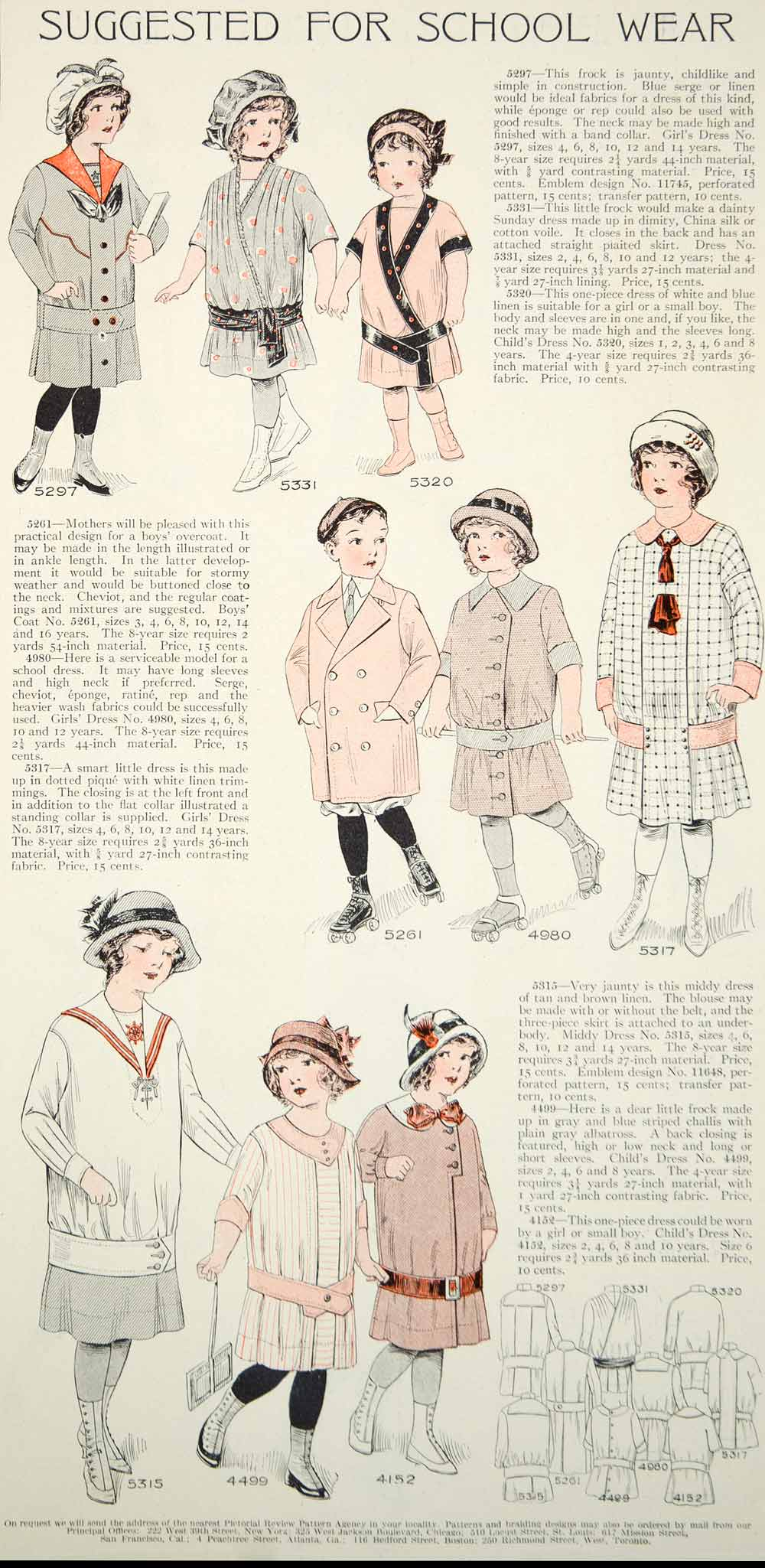 1913 Color Print Edwardian Fashion Illustrations Children School Dress Girl Boy