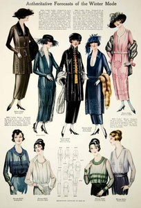 1919 Color Print Fashion Illustrations Flapper Era Women Dress Coat Blouses Hat