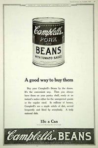 1920 Ad Vintage Campbell's Pork Beans Tomato Sauce Can Canned Food Nutrition