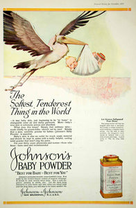 1920 Ad Vintage Johnson's Toilet Baby Powder Stork Carrying Infant Skin Care - Period Paper
