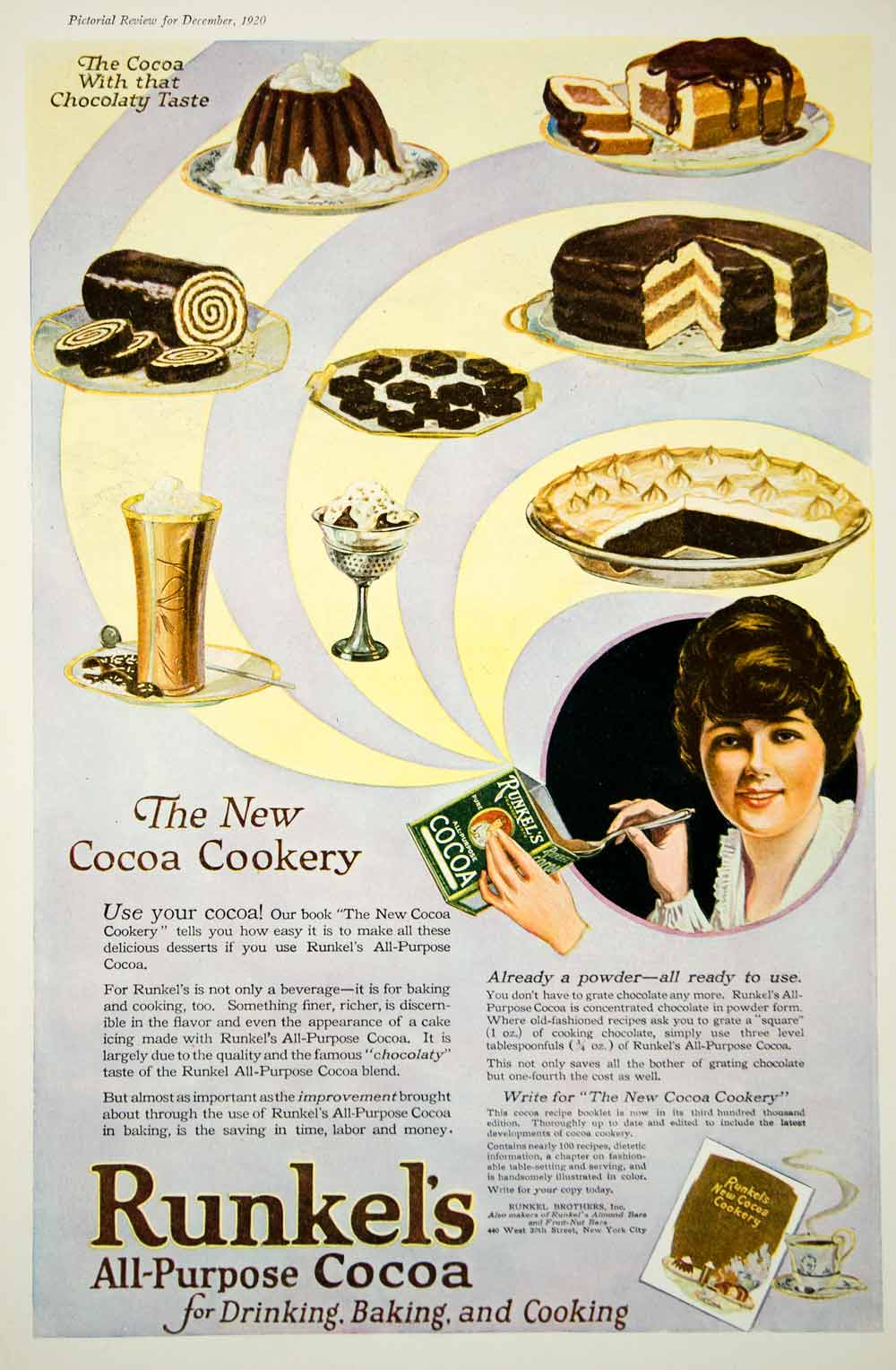 1920 Ad Vintage Runkel's Cocoa Baking Chocolate Cooking Desserts Beverage Drink