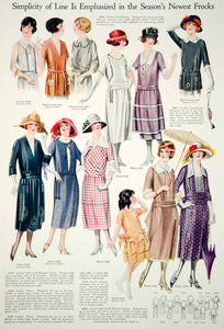 1921 Color Print 1920's Flapper Fashion Illustrations Summer Dresses Women Hats - Period Paper