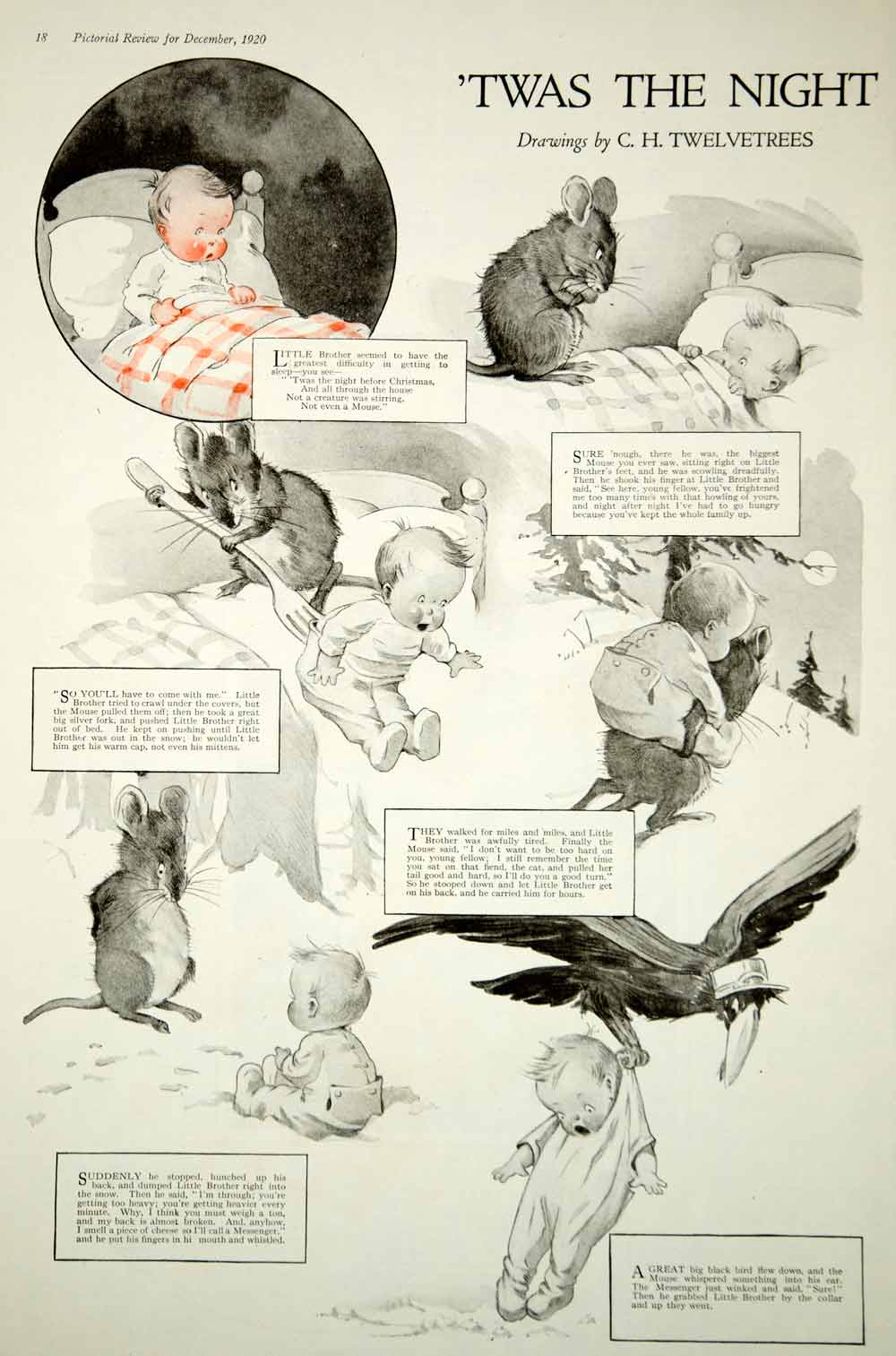 1920 Print Charles Twelvetrees Art Night Before Christmas Santa Claus Baby  Mouse