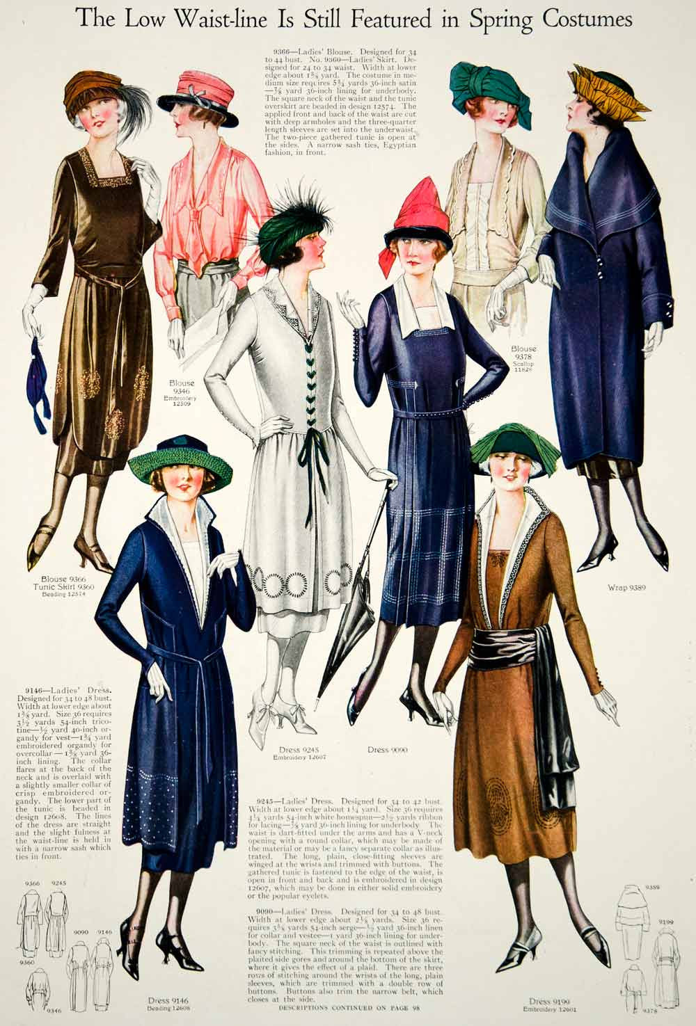 1921 Print Flapper Era Fashion Illustrations Women Spring Dresses Turban Hats - Period Paper  - 1