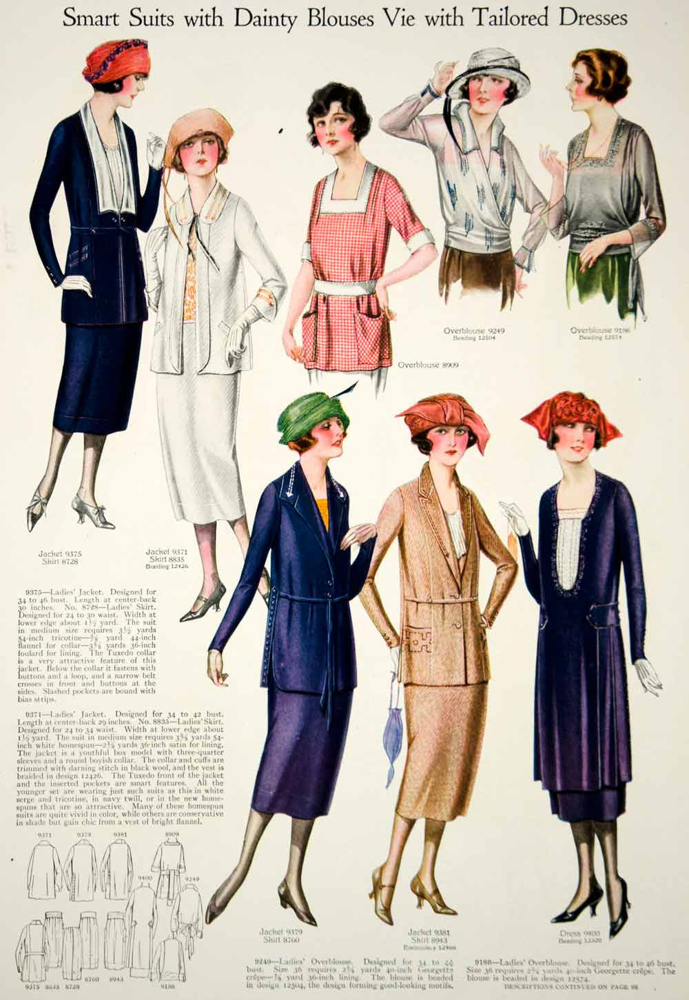 1921 Print Flapper Era Fashion Illustrations Women Spring Dresses Turban Hats - Period Paper  - 2
