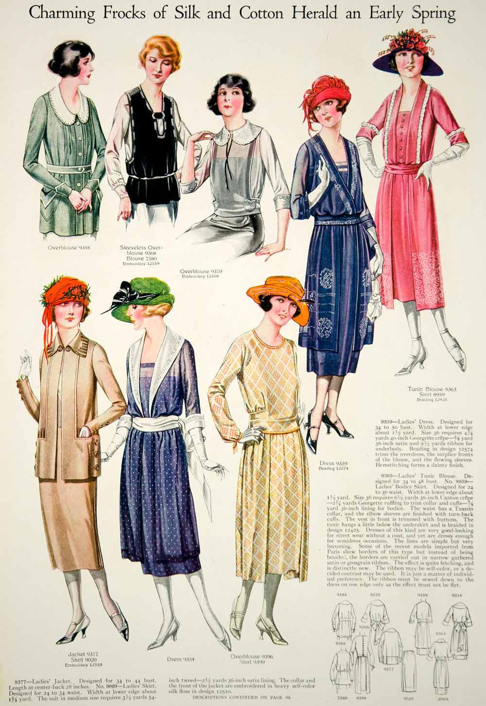 1921 Print Flapper Era Fashion Illustrations Women Spring Dresses Turban Hats - Period Paper  - 3