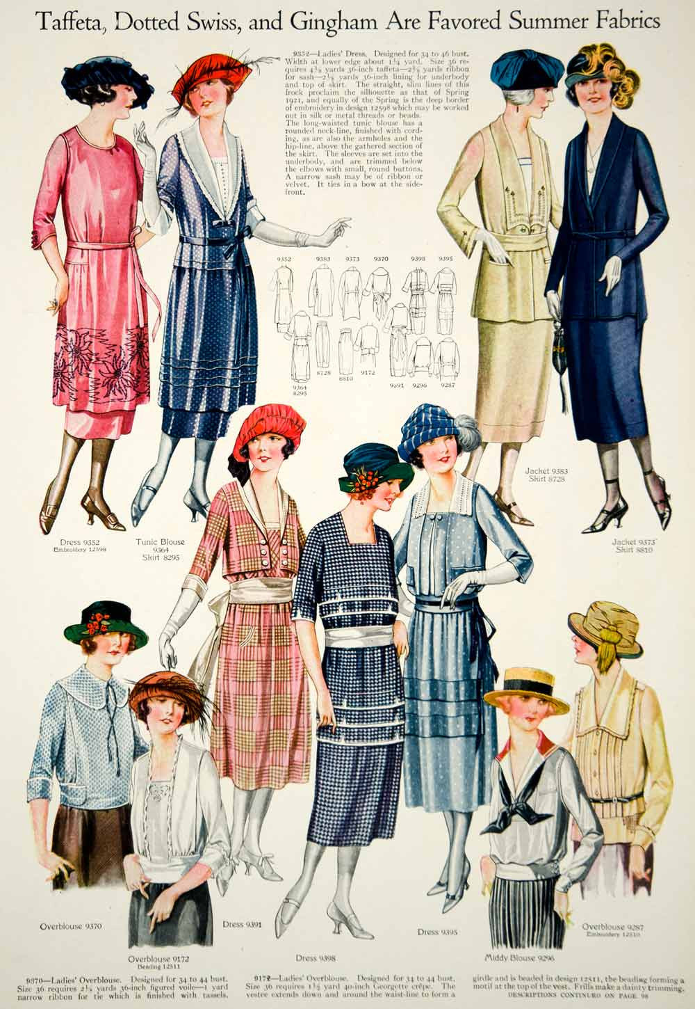 1921 Print Flapper Era Fashion Illustrations Women Spring Dresses Turban Hats - Period Paper  - 4