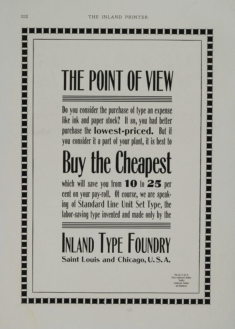 1901 Ad Inland Type Foundry Printing St. Louis Chicago