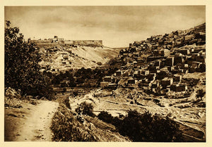 1925 Jerusalem Old City Wall Temple Mount Kidron Valley - ORIGINAL PS6