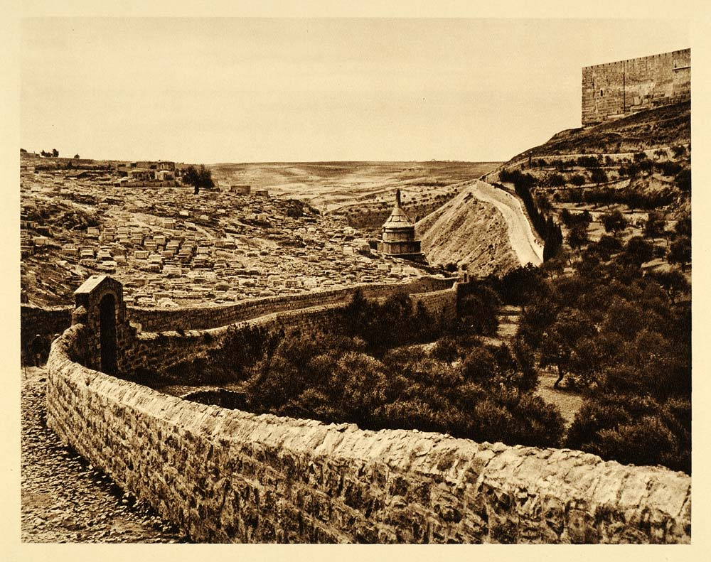 1925 Kidron Valley Graves Cemetery Jerusalem City Wall - ORIGINAL PS6