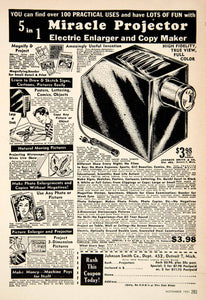 1951 Ad Miracle Projector Enlarger Copy Maker Johnson Smith Detroit PSC1