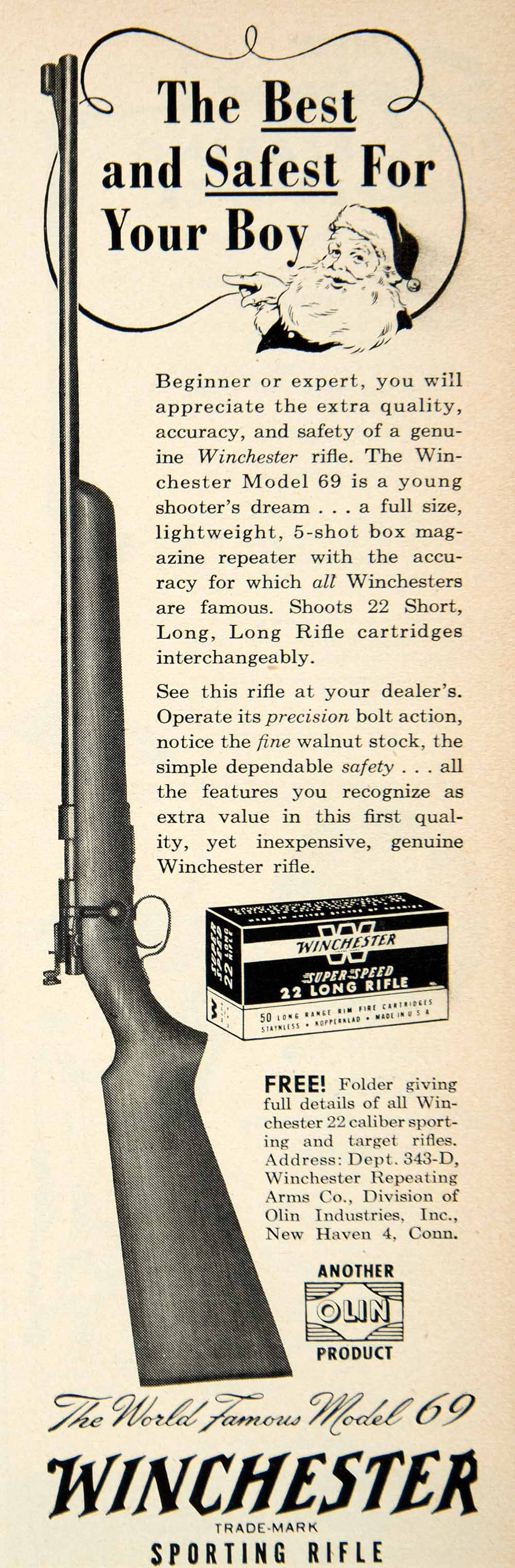 1950 Ad Winchester Sporting Rifle Firearm Gun Hunting Santa Claus PSC1