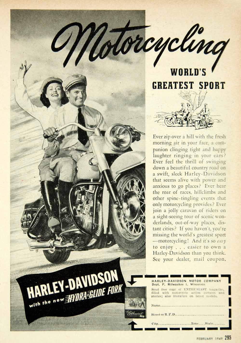 1949 Ad Harley Davidson Hydra Glide Fork Motorcycle Motorbike Enthusiast  PSC2