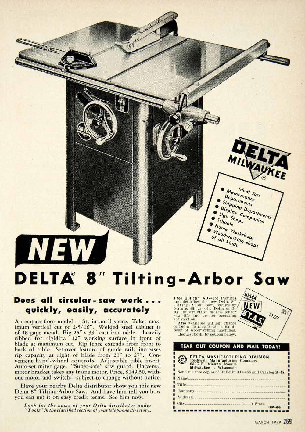 1949 Ad Delta Tilting-Arbor Saw Milwaukee Table 682C E. Vienna Ave Power PSC2