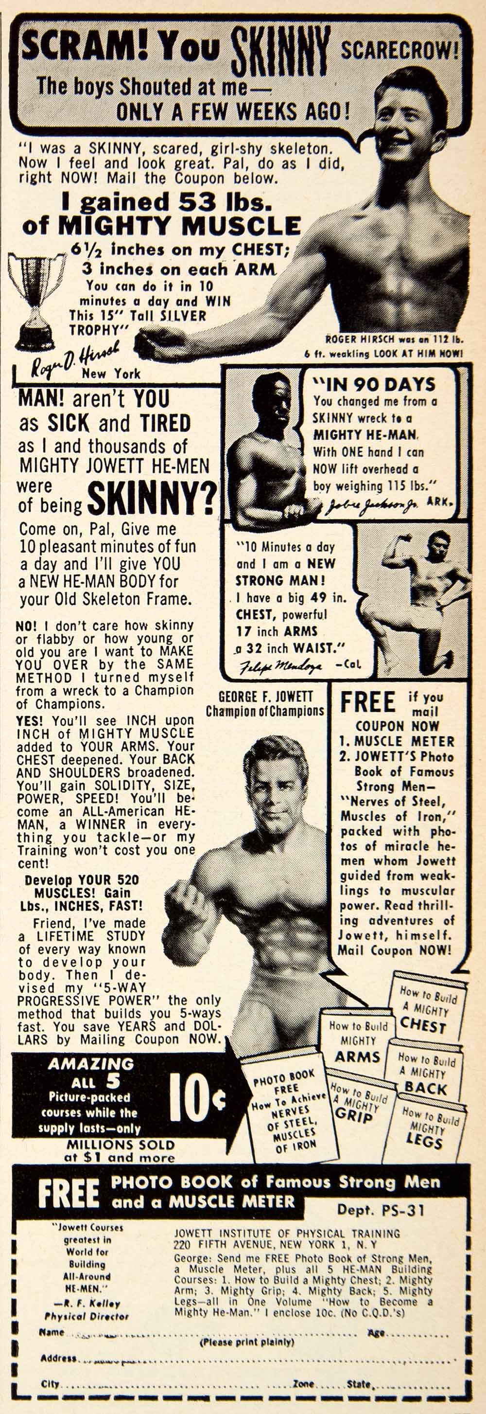 1953 Ad Jowett Institute Physical Training 220 Fifth Avenue New York Body PSC2