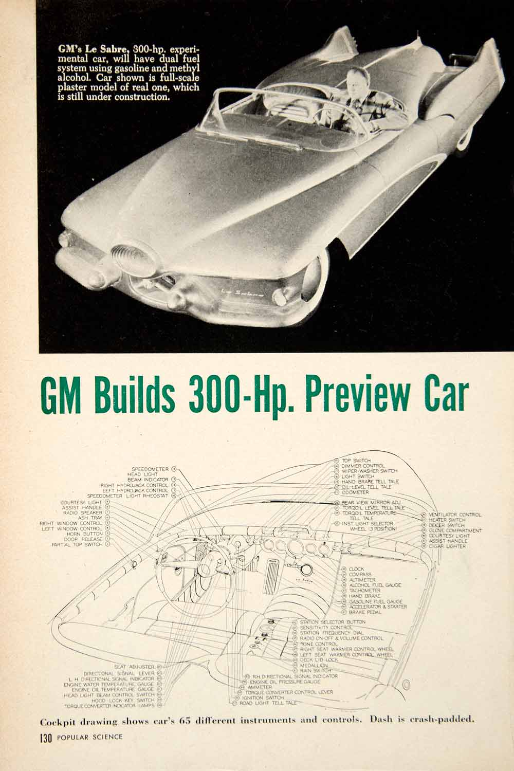 1951 Article Le Sabre GM General Motors Automobile Futuristic Headlight Car PSC2
