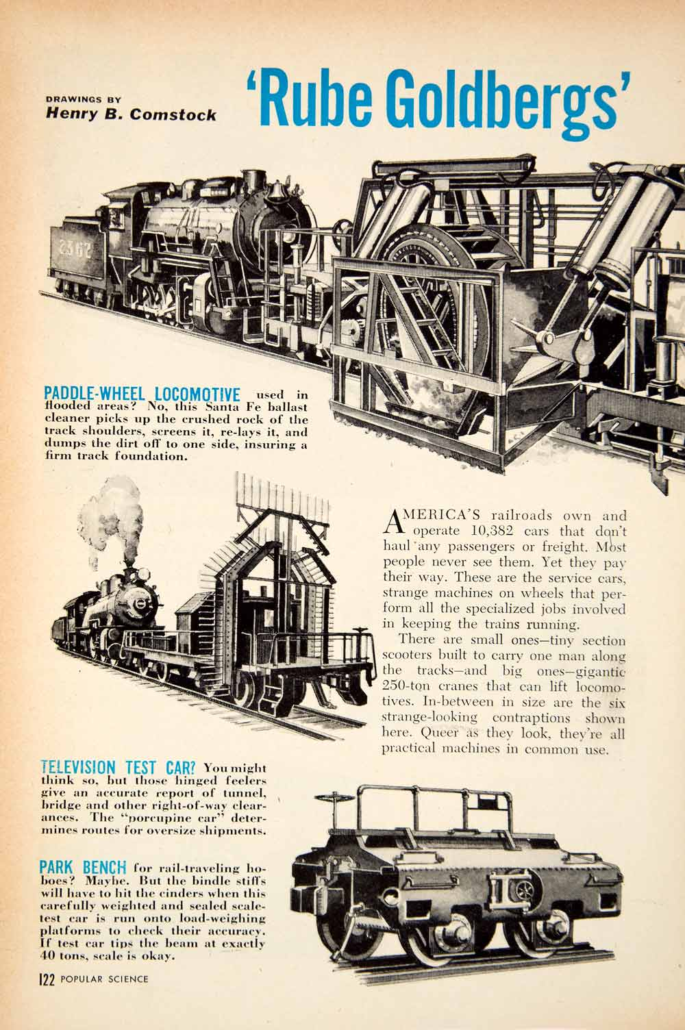 1952 Article Henry Comstock Rube Goldberg Railroad Cars Unusual Snow Plow PSC2