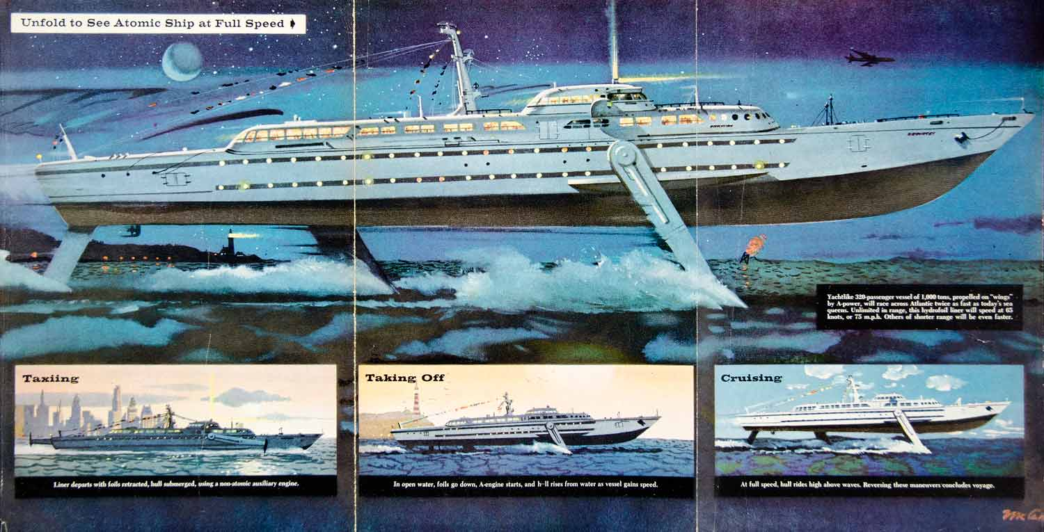 1959 Color Print A-Liner Cruise Ship Atomic Engine Turbine Boat Nautical  PSC3