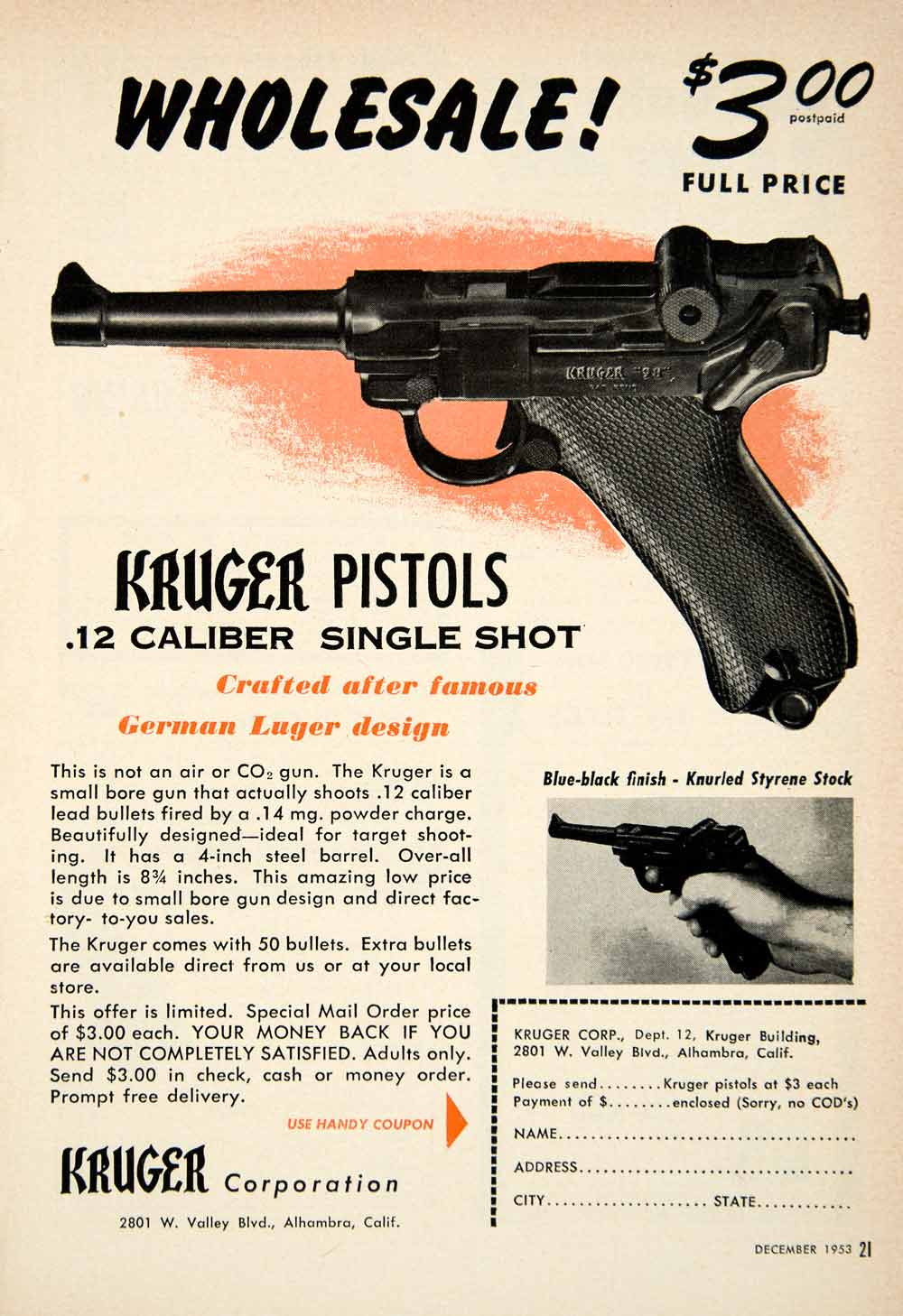 1953 Ad Kruger .12 Caliber Single Shot Pistol Gun Firearm Knurled Styrene PSC3