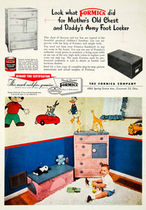 1955 Ad Formica Contact Bond Cement Construction Furniture Children PSC3