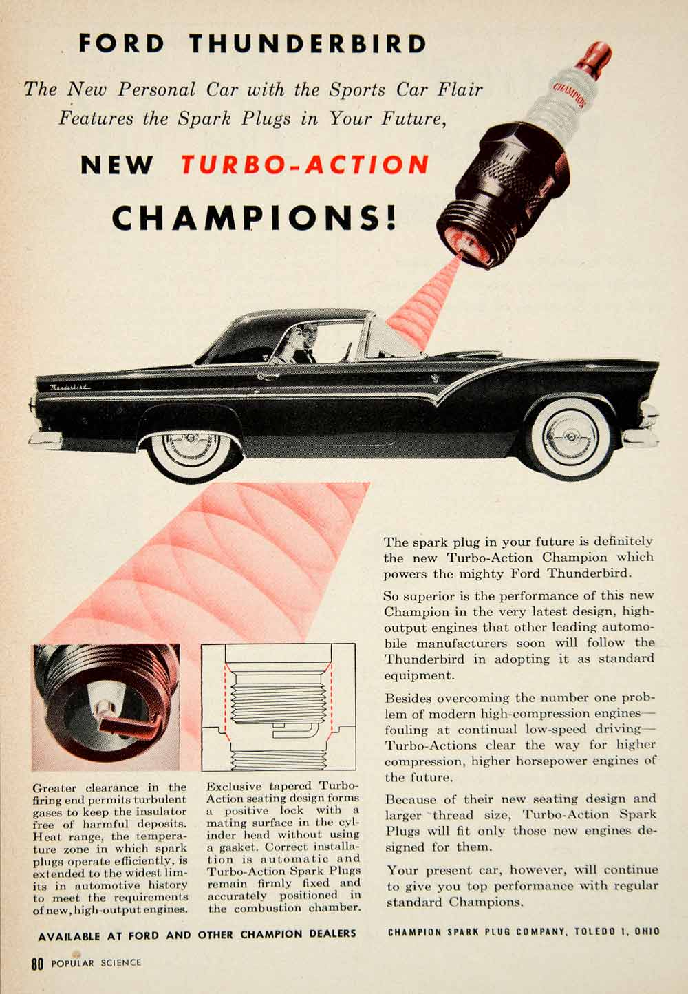 1954 Ad Champion Turbo Action Spark Plugs 1955 Ford Thunderbird Sports Car PSC3