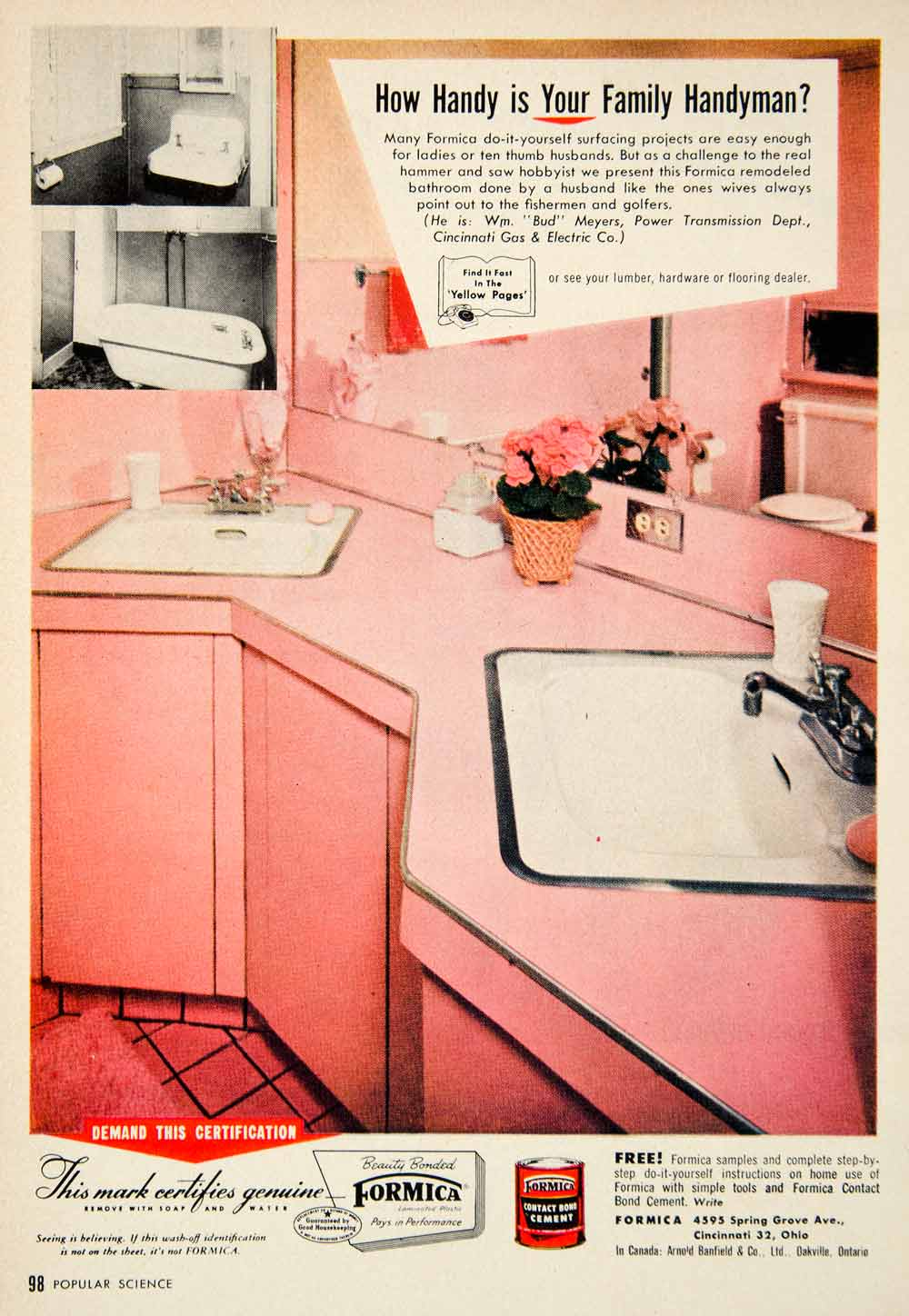 1955 Ad Formica Household Laminate Bathroom 4595 Spring Grove Ave PSC3