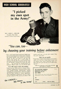 1955 Ad US Army Recruitment PFC John L Miller Military School Soldier PSC3