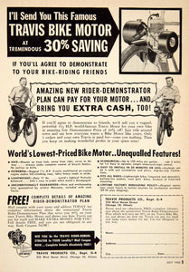 1956 Ad Travis Bike Motor Bicycle 224 W Huron St Chicago IL Sporting Goods PSC3