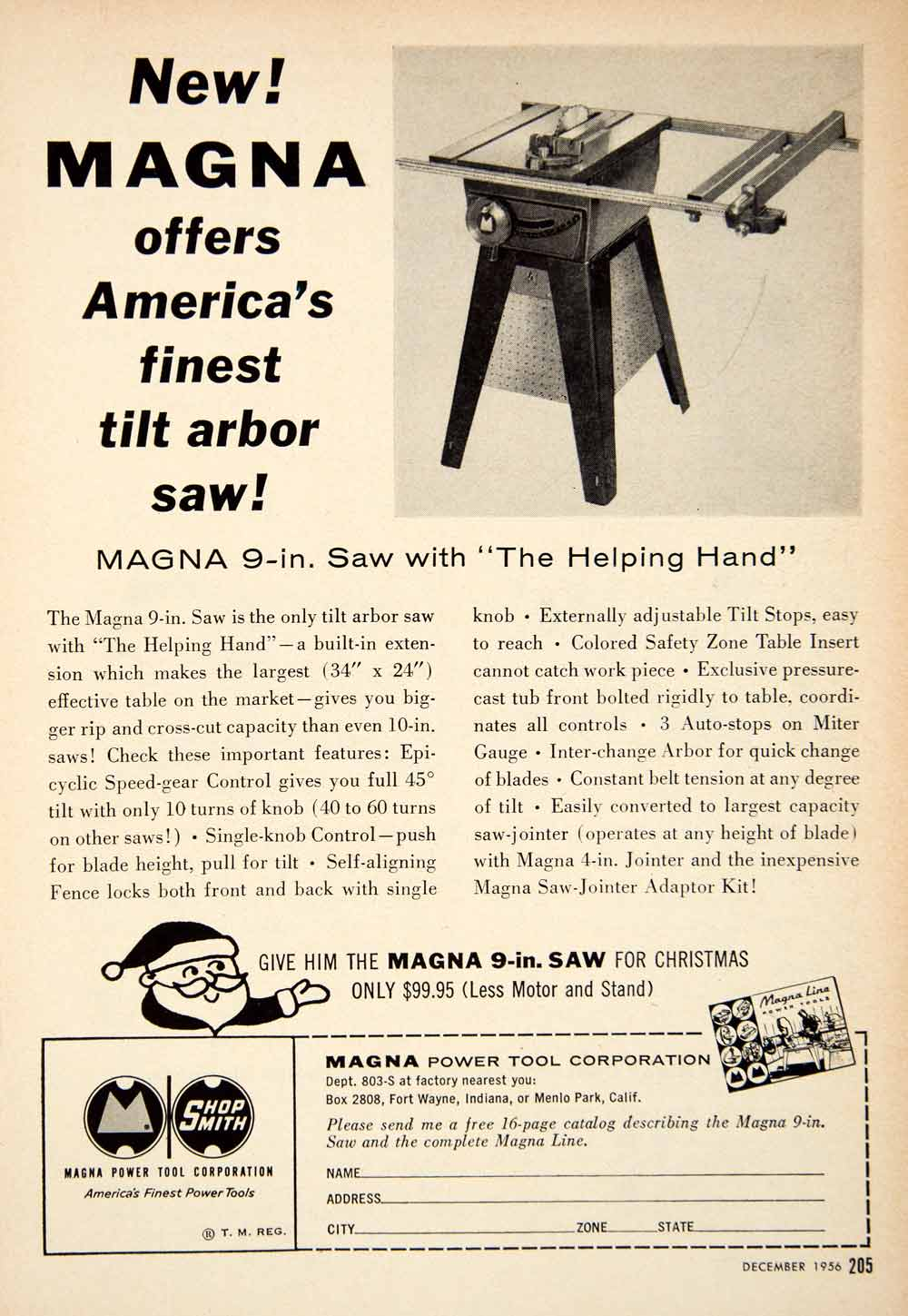 1956 Ad Magna Tilt Arbor Saw Power Tools Hardware Christmas Santa Claus PSC3