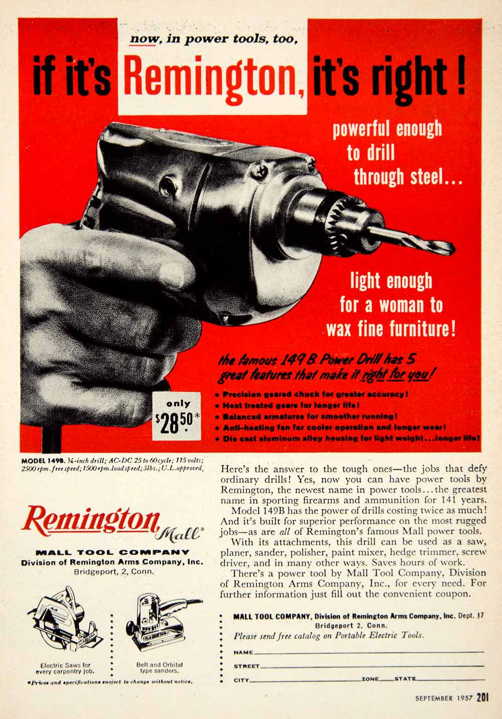 1957 Ad Remington 149B Power Drill Mall Tools Electric Saw