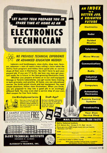 1957 Ad DeVry Technical Institute 4141 Belmont Ave Chicago IL College PSC3