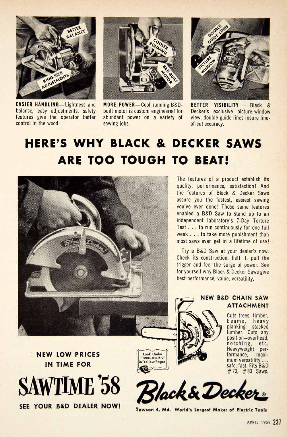 1958 Ad Black & Decker Saw Power Tool Chainsaw Hardware Construction Towson PSC3