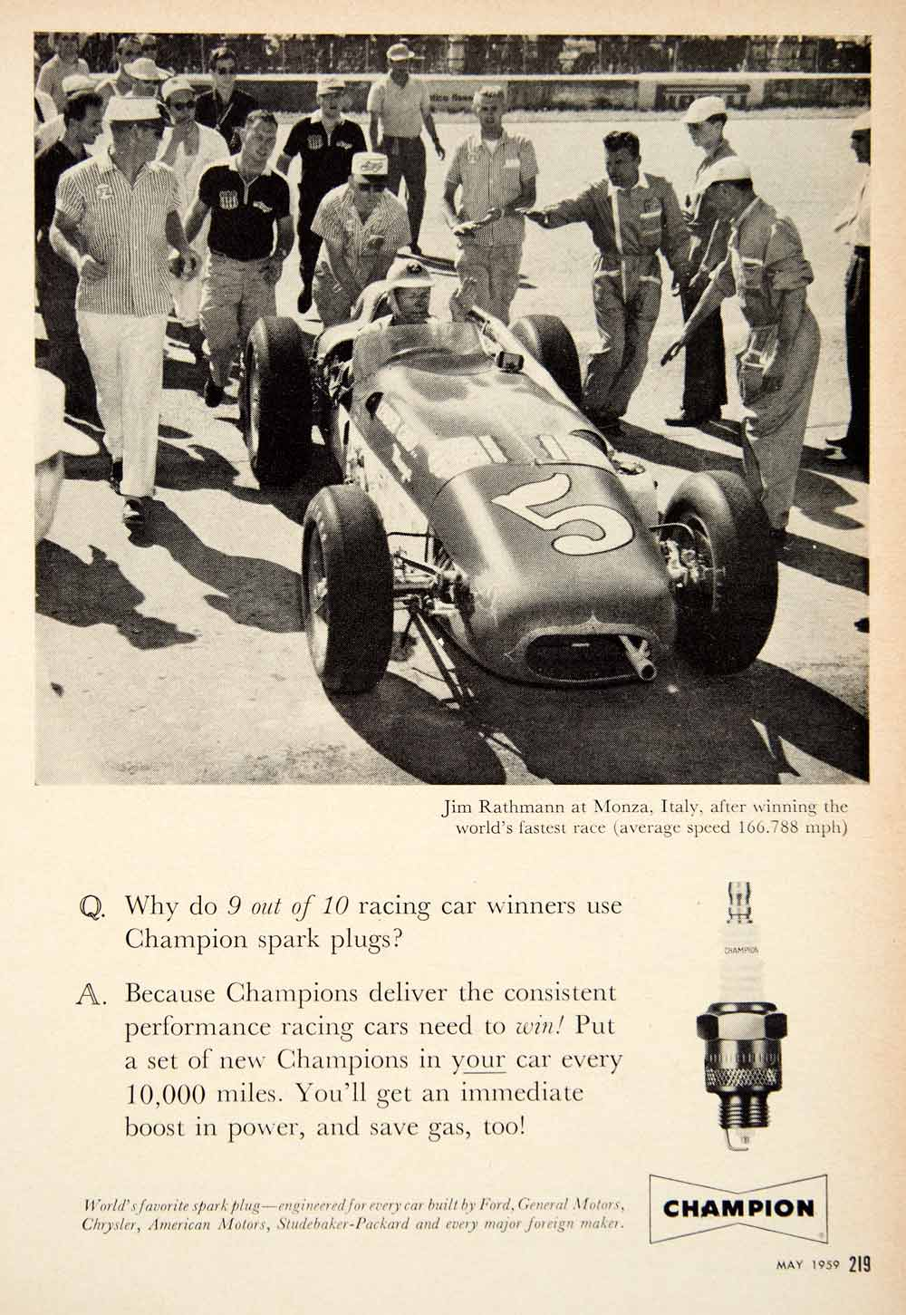 1959 Ad Champion Spark Plug Jim Rathmann Race Car Driver Automobile Parts PSC3